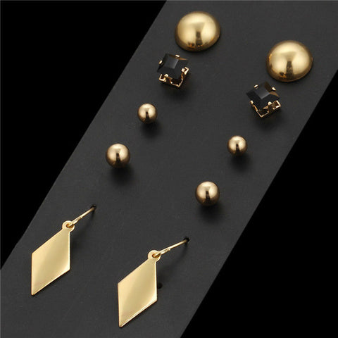 2016 New 5 Pairs Alloy Stud Earrings Vintage Earrings For Women Gold Color Love Pendientes Mujer Long Duplex Jewelry Cristal