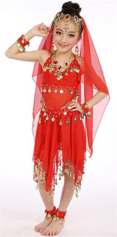 Hot Selling! Belly Dance Performance Bollywood Indian Child Costume Indian  Dance Costumes For Kids 2-6pcs/set free shipping