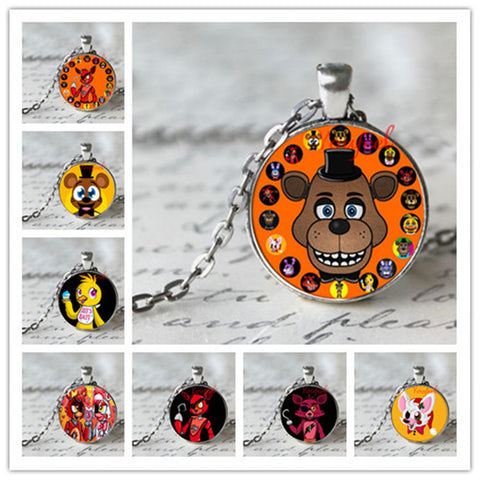 Indie Game 5 Five Nights at Freddy's Necklace Toys FREDDY FAZBEAR Scrabble Tile Pendant necklace glass - Animetee - 1