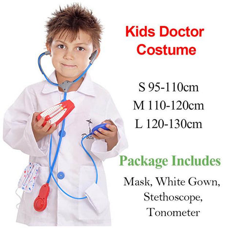 Kids Doctor Role Play Set Dress Up Surgeon Costumes For Children Halloween Costumes Medical Lab Coat With More Accessories