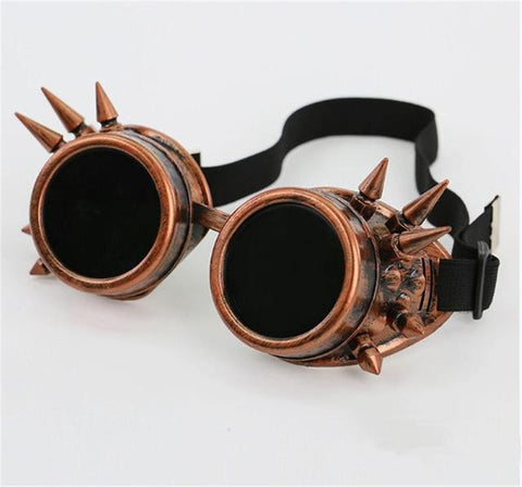 Rivet Steampunk Goggles Cyber Goth Cosplay Welding Antique Victorian Vintage Glasse 4 Colors  Free Shipping