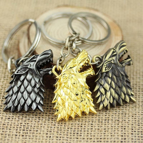Winter Game of Thrones GOT 1pc Fashion A  Board  Stark Family Mark Charms Llaveros Metal Keychains Car Key Chains Ring Holder Gift AT_77_7