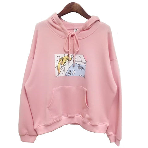 adfe8db9c177 2017 new Pink White Women Hoodies Japanese Sailor Moon Printed Pullover Girls  Kawaii Cute Harajuku