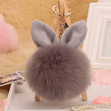 2017 Pompon Fluffy porte clef pompom de Fourrure women femme Pom Pom Keychain Rabbit Ear Fur Ball Key Chain Rings llavero Bag