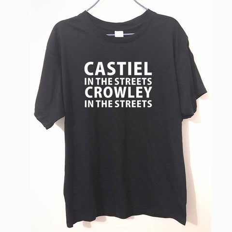 Dean Winchester Supernatural Castiel in the streets Crowley in streets tee t-shirts funny tvi tqi xyz