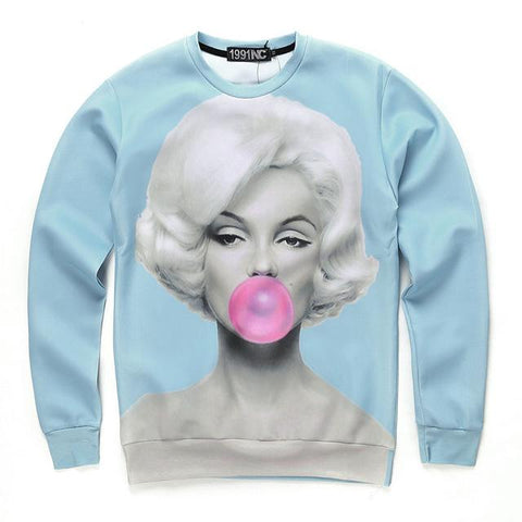 56546e635c62 Sexy Marilyn Monroe Bubble gum Sweatshirts For Women Men 3D Printed Lo –  2018 AT 142 30 (Animetee.com Friends)