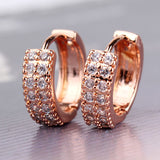 BUDONG Vintage Women Round Earrings Cubic Zirconia Silver/Gold-Color Infinity White Crystal Luxury Hoop Earring Jewelry E101
