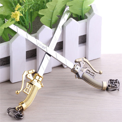 16cm High Quality Latest Model Attack On Titan Training Corps Dual Blade Gold Bronze Key Rings Cell Phone Decoration KeyChain - Animetee - 1