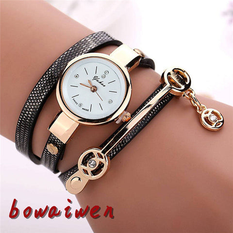 bowaiwen p70 woman watch Fashion Retro Leather Set Auger Bracelet Quartz lady girl student watches relogio femininowholesale
