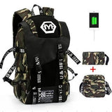 Backpack Sets Large Camouflage Backpack Men Graffiti Canvas School Bags Large Capacity Back Pack Military Mochila USB Charging