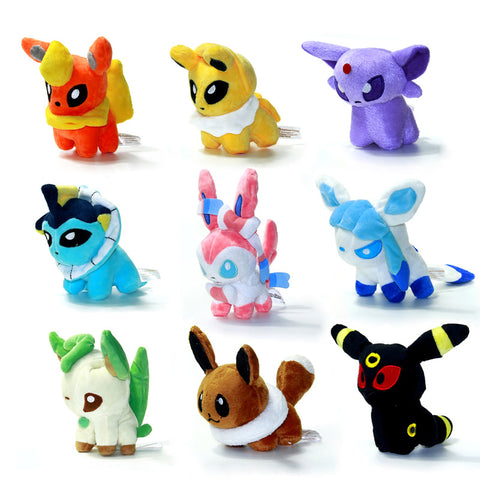"New 9pcs/lot Pokemon Plush Toys 5"" Umbreon Eevee Espeon Jolteon Vaporeon Flareon Glaceon Leafeon Animals Stuffed Doll Toy - Animetee"
