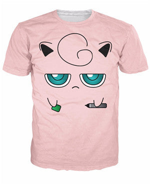 Jigglypuff Face T-Shirt Pokemon Characters t shirt Summer style fashion clothing tees tops women men plus size S-XXL - Animetee - 15