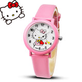 2017 Hello Kitty Cartoon Watches Kid Girls Leather Straps Wristwatch Children Hellokitty Quartz Watch Montre Enfant
