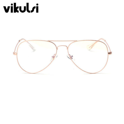 457a722b60 2017 New Aviator Glasses Women Classic Eyeglasses Rose Gold Metal Spectacle  Frame Clear Glasses Men Optical