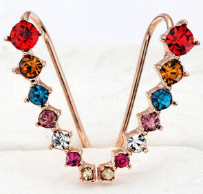 Big Dipper Four-Prong Setting 7pcs CZ Rose Gold Color Ear Hook Stud Earrings Fashion Jewelry ZYE548