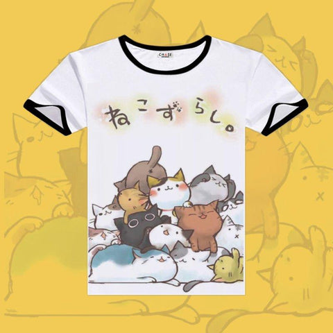2017 Games Neko Atsume Cosplay T-shirts Black O-Neck Short Sleeve Costumes Cute Cat Print Shirt Men Tops Summer Fashion Tees