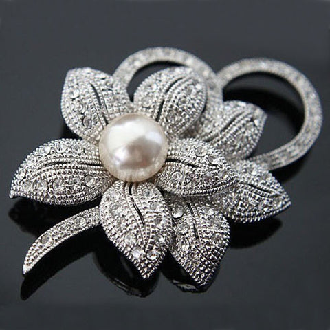 Retail!!High Quality Vintage Style Clear Austria Crystals Imitation Pearl Big Bow Brooch Wedding Accessories