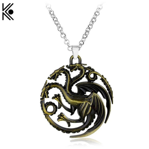 Winter Game of Thrones GOT Targaryen  Dragon necklace Bronze Dragon jewelry  Necklaces & Pendants Maxi Punk Style Men Gift AT_77_7