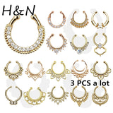 3PC crystal fashion clicker fake septum For Women Body Clip Hoop vintage fake nose ring Faux Piercing Body Jewelry non Wholesale