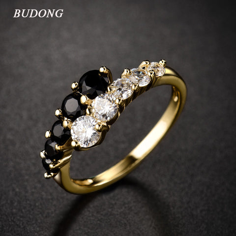 BUDONG New Fashion 2016 Finger Midi Ring for Women Gold-Color Rings White & Black Engagement Wedding Rings CZ Zircon Jewelry