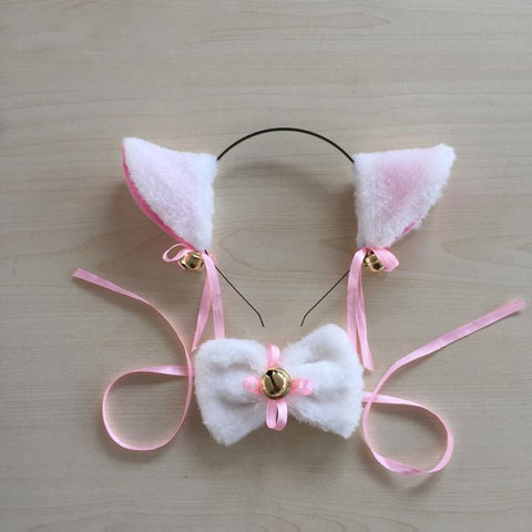 1 Set LOVELIVE Cospaly Cute Kawail Cartoon Cat Tie And Cat Ears Bow With Bell Cat Neko Hairbands Ears Set Maid Lolita Plush FX8