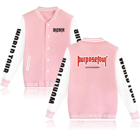 Hip Hop Baseball Uniform Justin Bieber Purpose Tour Fashion Jacket For Men/Women Plus Size Hoodies Harajuku Brand Clothing