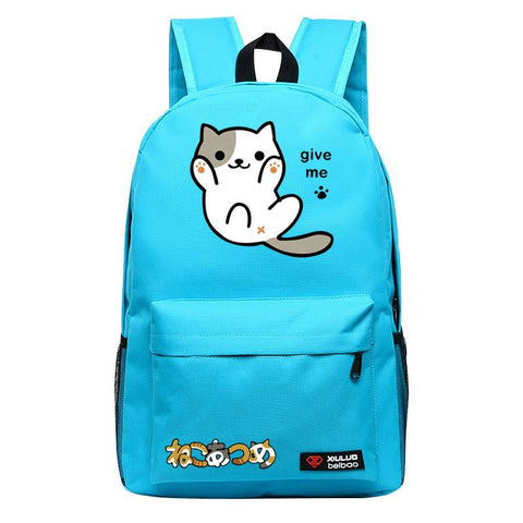 2017 Anime Neko Atsume Kawaii Emoji Cat Candy Color Printing Women Backpack Mochila Feminina Laptop Backpack Canvas School Bags