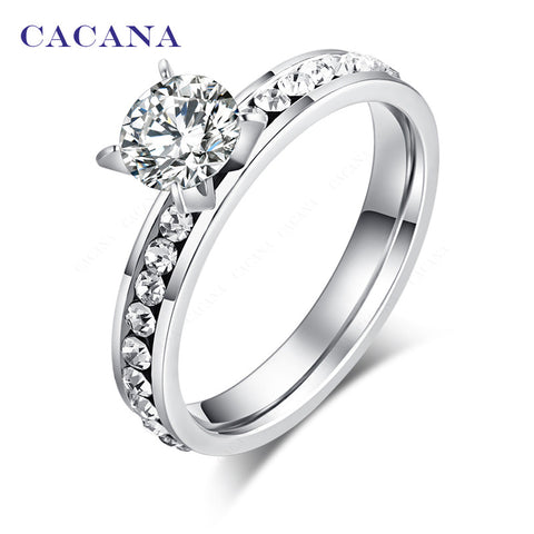 CACANA Stainless Steel Rings For Women Circle CZ  Fashion Jewelry Wholesale NO.R174