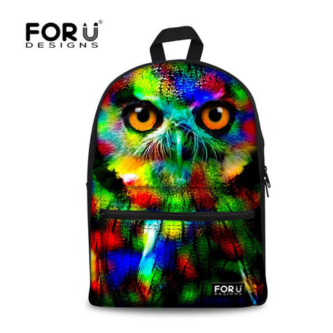Full color rainbow owl leopard lion dog whale pugs panda bear backpack school bag rucksack - Animetee - 1