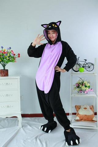 6fdc4a974185 Midnight Cat Onesies Sleepsuit Adults Cartoon Unisex Men Women Black ...