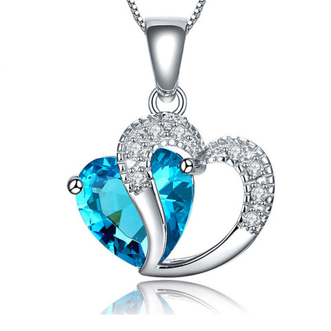 2017 New Zircon Crystal Silver color Jewelry Fashion Necklace For Women Best Friend Love Heart Long Chain Necklace Fine Jewelry