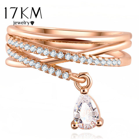 17KM Anel Feminino Multilayer Cross Wedding Crystal Water Drop Ring Anillos Mujer Fashion Jewelry Zircon Rings For Women CS12
