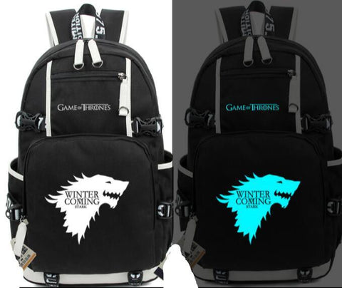 Anime Game of Thrones Ice and Fire Glow In light Backpack Student School Printing Bag Casual Bag Cosplay Gifts