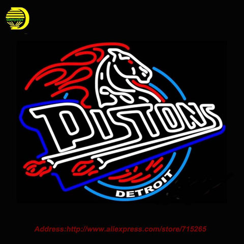 Detroit Pistons 2001 NBAA Neon Sign Neon Bulb Recreation Glass Tube Handcraft Sport Affiche indoor Publicidad Neon Lamp 31x24