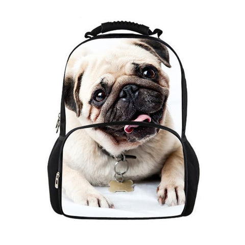 3D Animal Children School Bags for Girls Cute Pug Dog Print Teenager Schoolbag College Students Fashion Kids Casual Travel Bags