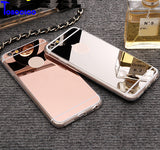 Cases For iPhone 5 5s SE 6 6s 7 Plus Luxury Mirror TPU Capa Soft Silicone Case Protector Shell Cover For iPhone 7 Plus 4 4S