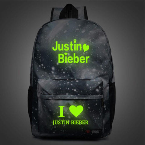 2017 Backpacks New Listing I love Justin Bieber Luminous Canvas  bacpacks for teenagers fans justin biber backpakcs