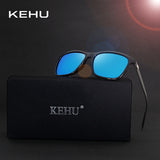 KEHU Polarized Sunglasses Men Square Brand Designer Male Aviation Vintage Sun Glasses Masculino H1815