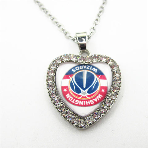 6pcs Crystal Heart Basketball Team Sports Washington Wizards Necklace with 50cm Chains Necklace Pendant Jewelry