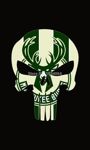 Milwaukee Bucks skull Flag 3X5FT with 2 metal grommets
