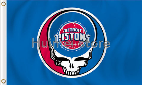2016 newest design Detroit Pistons flag 3x5ft 100D polyester digital printing with 2 metal gromments,free shipping