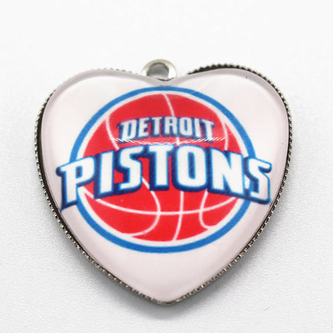 10pcs Heart Detroit Pistons Team Basketball Sports Dangle Charms Pendants DIY Jewelry Accessory Floating Hanging Charms