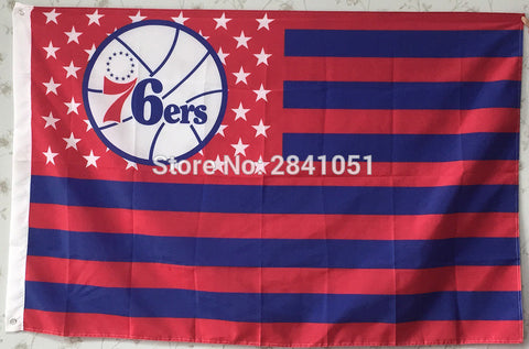 Philadelphia 76ers US American Team USA Star And Stripe Basketball Flag 3X5 Custom Any Flag