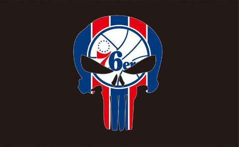 Philadelphia 76ers brightly colored Banners 3x5FT Digital Printing 100D Polyester with sleeve two metal Brass skull flag