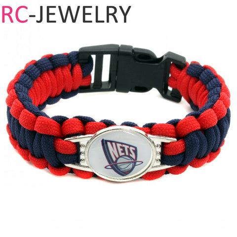 2017 New Basketball Bracelet Brooklyn Nets Charm Braided Bracelet for Men Women Sport Bracelet Jewelry Gifts