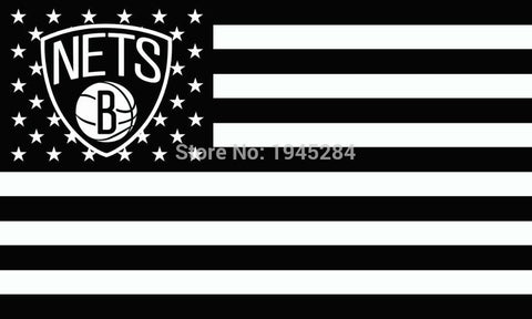 Brooklyn Nets with US Stars Stripes Flag Banner New 3x5FT 90x150CM Polyester 8933, free shipping