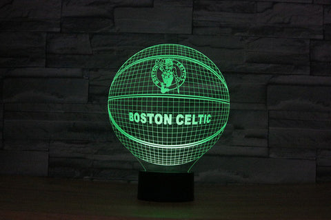 3D Effect Basketball OKLAHOMA CITY THUNDER Fan 7 Color Change Night Light Illusion Acrylic Touch Lamp