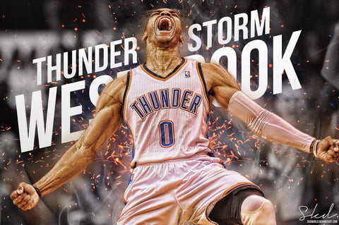 "235 Russell Westbrook - Oklahoma City Thunder Basketball NBA 21""x14"" Poster"