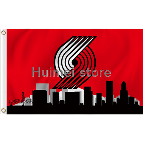 Portland Trail Blazers city skyline 100D Polyester Flag 3x5 FT custom sport flag