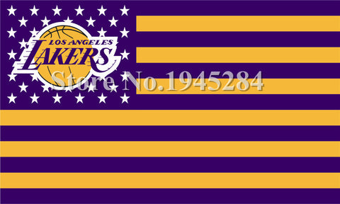 LA Lakers with US Stars Stripes Flag New 3x5feet 150x90cm Polyester Team Flag Banner 1065,  free shipping